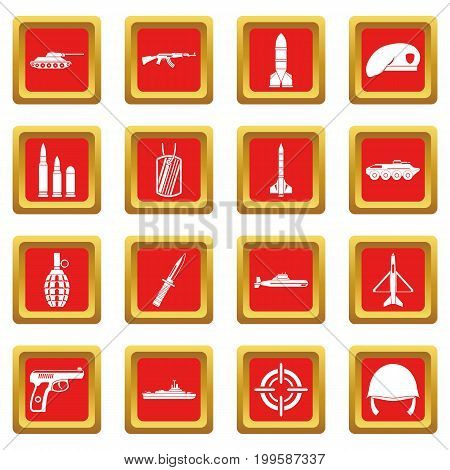Military icons set in red color isolated vector illustration for web and any design