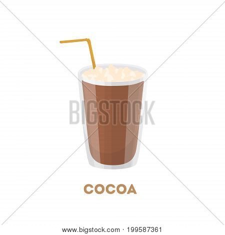 Isolated cocoa drink. Glass with straw on white background.