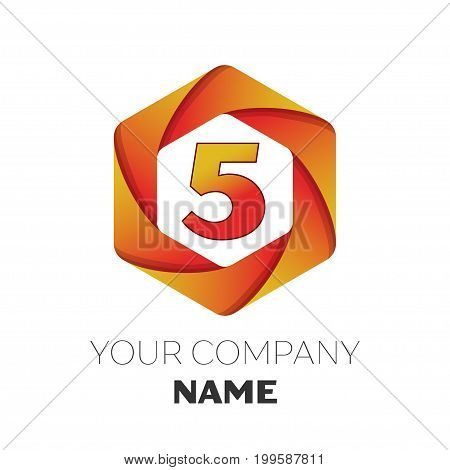 Realistic number five vector logo symbol in the colorful hexagonal on white background. Vector template for your design