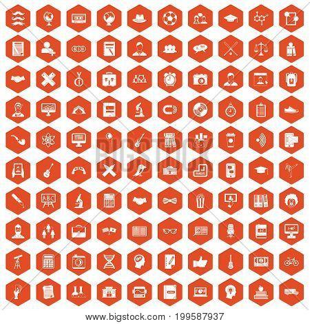 100 student icons set in orange hexagon isolated vector illustration