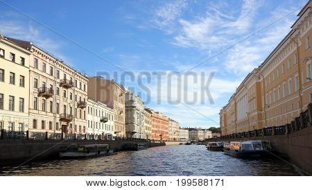 Canal waterfront and historic buildings in Saint-Petersburg