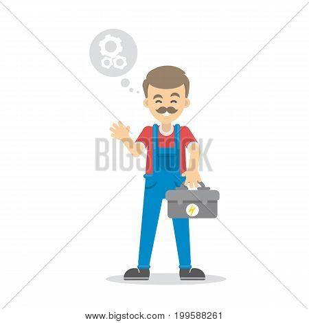 Isolated male electrician on white background. Man with tool box.