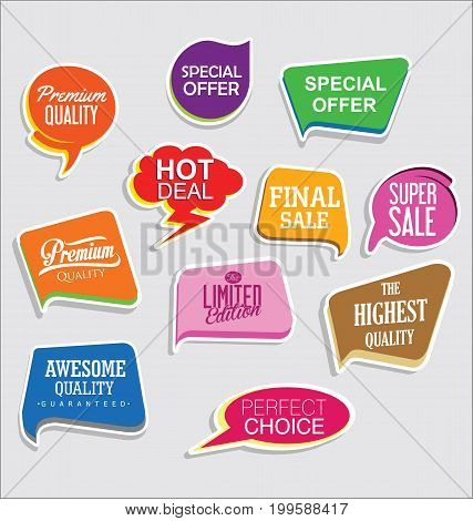 Promo Sale Stickers And Tags Collection Modern Design 5.eps