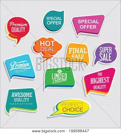 Promo Sale Stickers And Tags Collection Modern Design 2.eps