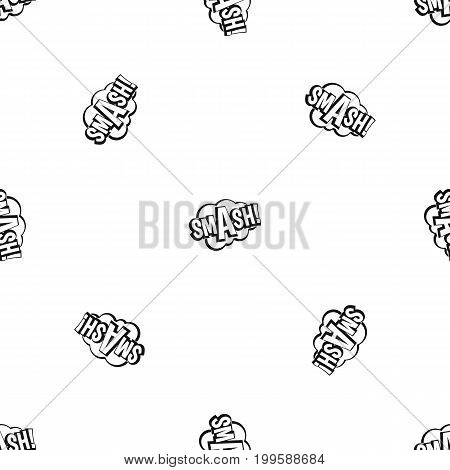SMASH, comic book bubble text pattern repeat seamless in black color for any design. Vector geometric illustration