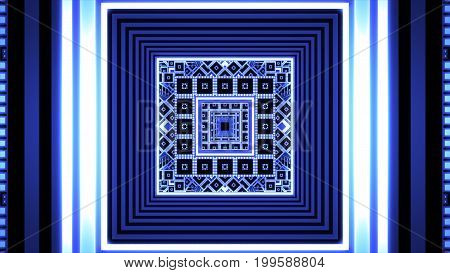 Abstract Infinite Tunnel From Fractal Cubes 3D Illustration