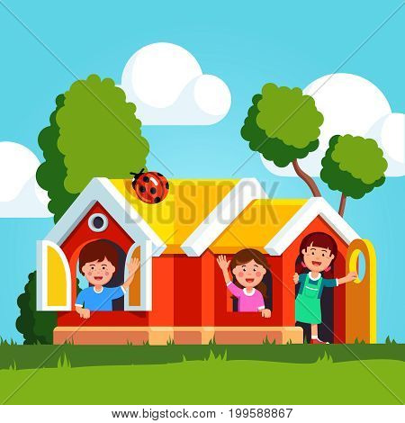 Little kids boys, girls peeking out from kindergarten playground big plastic play house windows. School first graders, preschool children playing together in public park. Flat vector illustration.
