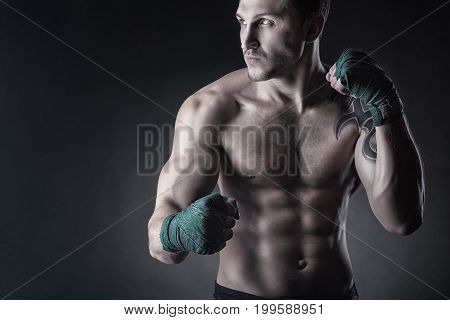 Boxing man ready to fight. Boxing concept