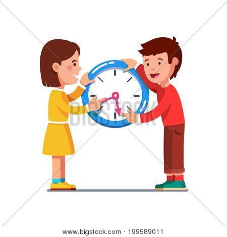School kids girl, boy moving and adjusting clock hands or clockwise learning to read time. Students children experimenting with wall watch. Flat style vector illustration isolated on white background.