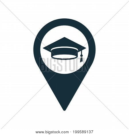 Location Pin Graduating Cap Student Icon