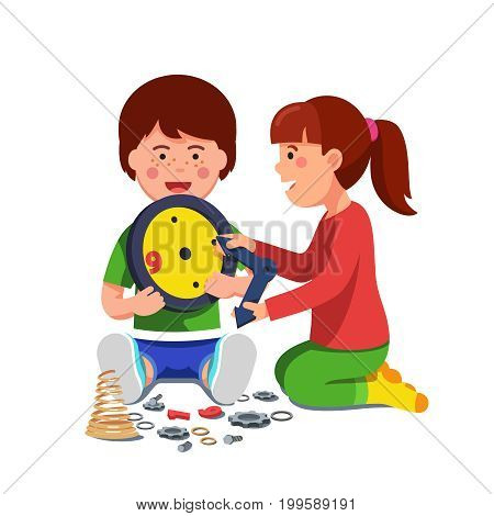 Kids boy and girl sitting playing with mechanical clock. Smiling school or preschool children disassembling or trying to fix wall timepiece. Flat style vector illustration isolated on white background