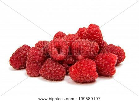 Fresh raspberries fruity isolated on white background