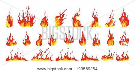 Isolated fire set on white background. Red and yellow flames.