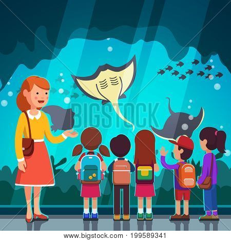Group of kids girls, boys watching crampfish at oceanarium aquarium excursion with woman teacher. School or kindergarten students with backpacks on filed trip together. Flat style vector illustration.