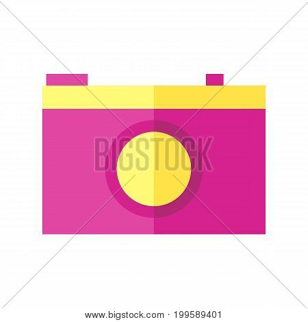 Coloured vector illustration of a camera on isolated background