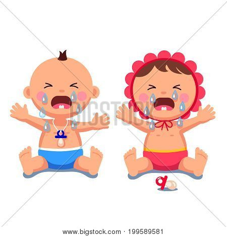 Newborn babies girl, boy sitting in diapers screaming and crying shedding big tears, wide open mouths. Sad toddlers son, daughter weeping. Flat style vector illustration isolated on white background.