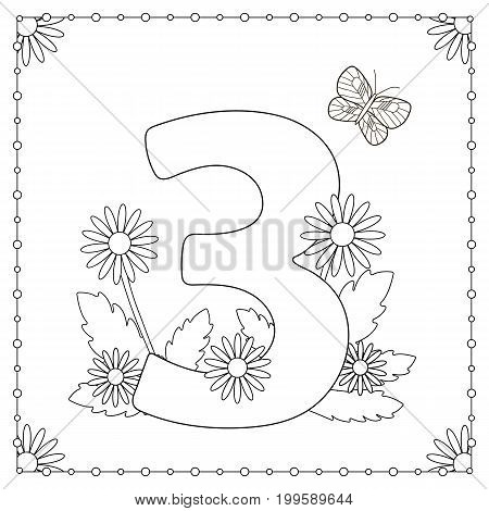Numeral three with flowers leaves and butterfly. Coloring page. Vector illustration.