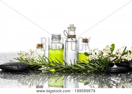 Tropical flowerwith black stones ,oil in bottle ,fern on wet background