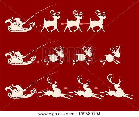 Christmas sign with Santa Claus in harness on a cart with deer, set
