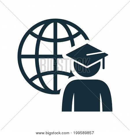 World Graduating Cap Student Globe Icon