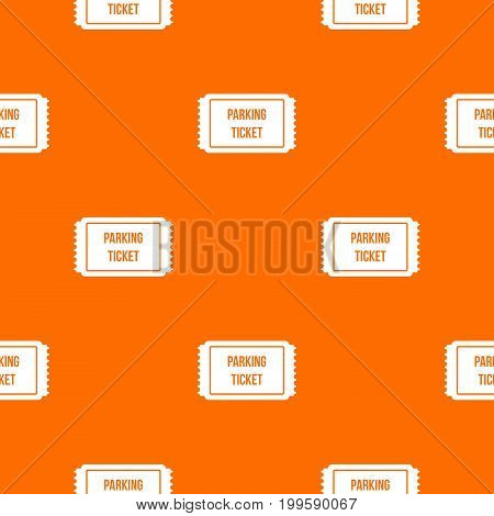 Parking ticket pattern repeat seamless in orange color for any design. Vector geometric illustration