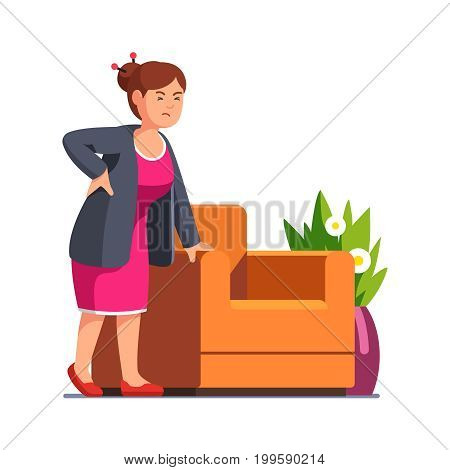 Senior woman standing frowned with closed eyes leaning on arm chair holding back suffering from pain. Lady experiencing backache at home. Flat style vector illustration isolated on white background.