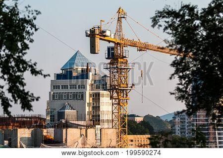 Construction crane in the city of Vladivostok