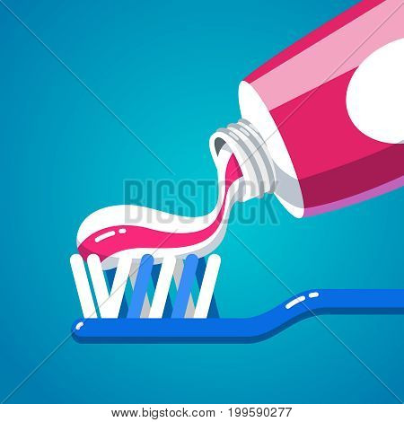 Squeezing tooth paste from a tube on a toothbrush tip bristles. Brushing teeth. Hygiene and health care concept. Flat style vector illustration.