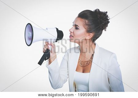 Young business woman with megaphone isolated on white background