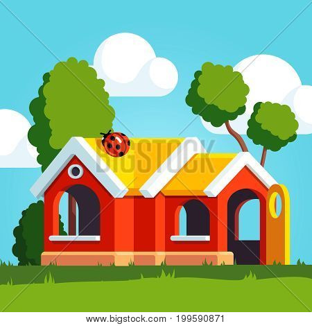Red plastic toy play house with yellow roof, windows and opened door standing outside on the school or kindergarten playground. Kids playhouse in public park. Flat vector illustration with background.