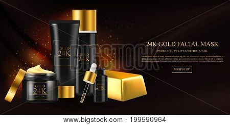 Skin care concept. Facial mask with gold 24k, golden water oil, skincare hydration moisturizer. Vector beauty concept