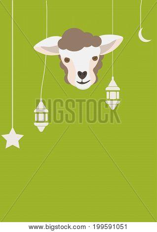 Vector illustration for muslim community: eid al Adha or Sacrifice Feast, also known as Qurbani, Greater Eid, Eid al Kabir or Kurban Bayrami. Sheep or Lamb Head or Face. Space for copy or text.