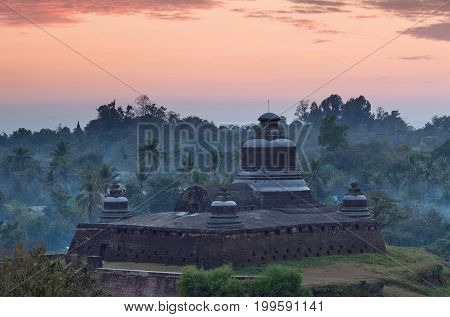Famous Ancient Htukkanthein Stupa At Sunset In Mrauk U, Rakhine State, Myanmar