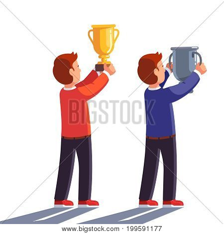 Man winners raising gold and silver champion trophy up celebrating victory. Teenager boys students holding golden and silver cup. Flat style vector illustration isolated on white background.