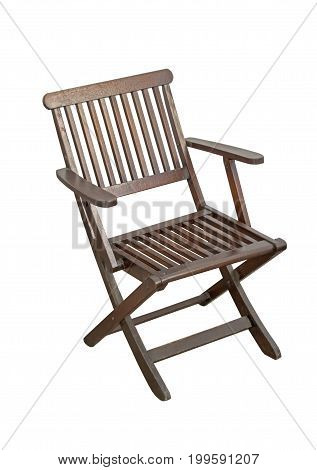 Wood and Metal Chair Isolated on White Background