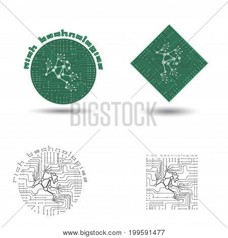 Illustration of four images of a printed circuit board in the form of a logo