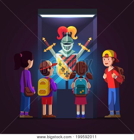 Group of kids girls, boys watching royal knight armor, swords, shield, helmet on glass display at historical museum excursion. School students on field trip together. Flat style vector illustration.