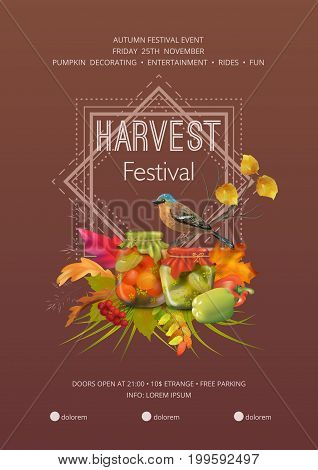 Autumn harvest festival flyer or poster template. Usable for any kind of event, party, concert, festival. Thanksgiving invitation card.