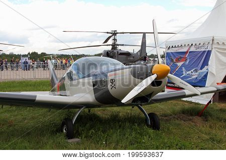 Moscow Region - July 21 2017: Gray sports aircraft of the Czech company BRM Aero Bristell at the International Aviation and Space Salon in Zhukovsky.