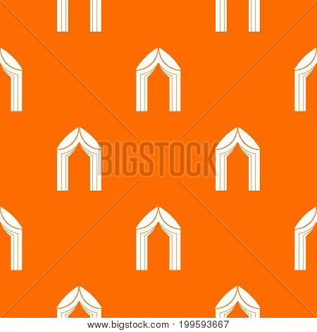 Arch pattern repeat seamless in orange color for any design. Vector geometric illustration