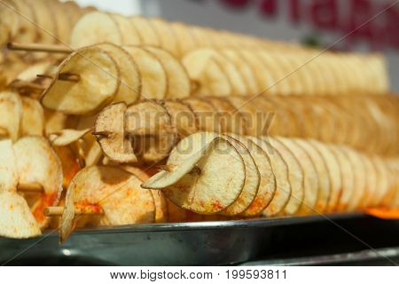 Tasty Potato Chips On A Skewer