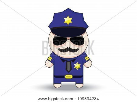 Funny cop with sunglasses and mustache. Police officer cartoon character