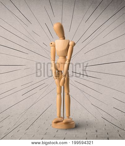Wooden mannequin posed in front of a greyish background with black lines around him