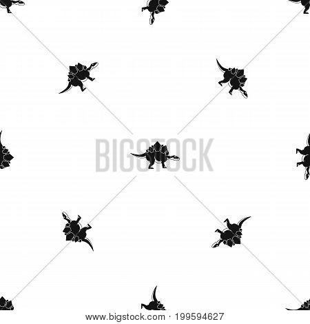 Stegosaurus dinosaur pattern repeat seamless in black color for any design. Vector geometric illustration