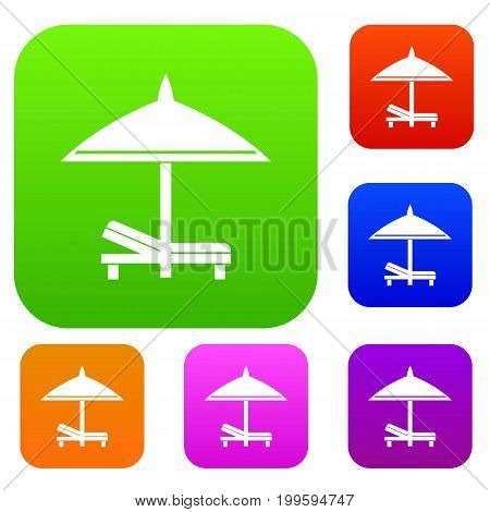Bench and umbrella set icon in different colors isolated vector illustration. Premium collection