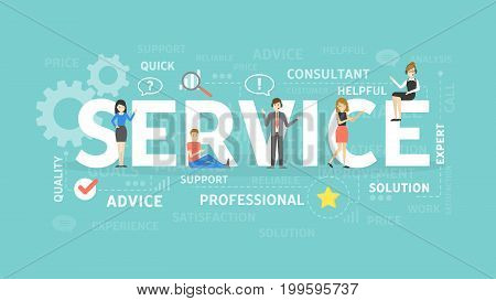 Service concept illustration. Idea of customer review, communication and assistance.
