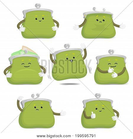 Cute and funny purse, wallet character showing various emotions, cartoon vector illustration isolated on white background. Funny green leather purse character, emoji, money symbol