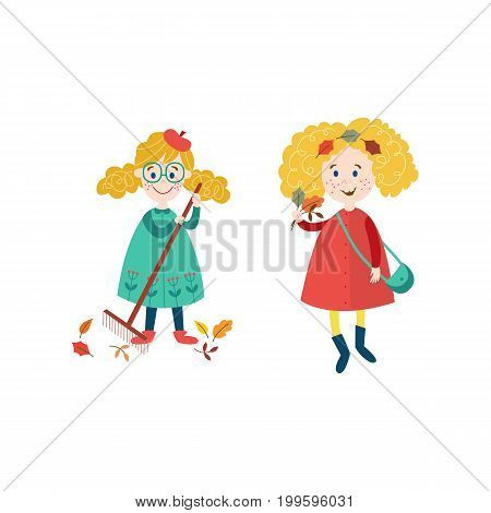 vector girls children wearing autumn clothing collect autumn falling leaves by rake set, cartoon isolated illustration on a white background