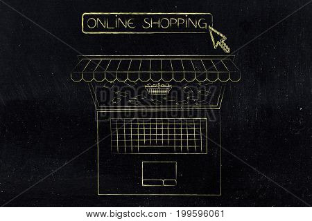 Laptop With Shop Awnings And Shopping Basket Surrounded By Price Tags