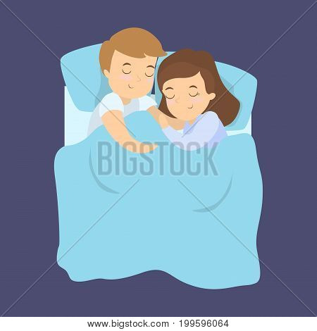 Cute sleeping couple. Man and woman hugging and sleeping in the bed.